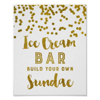 Ice Cream Sundae Bar Sign Gold Confetti