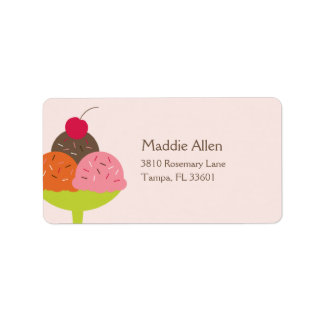 Ice Cream Sundae Birthday Address Label (Pink)