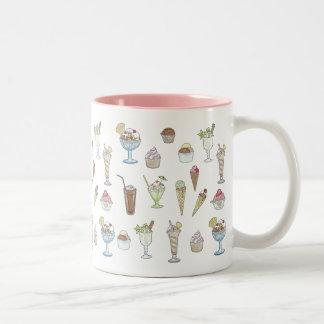 Ice Cream Sundae Collage Two-Tone Mug