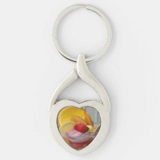 Ice Cream Sundae key chain Silver-Colored Twisted Heart Key Ring