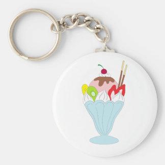 Ice Cream Sundae Basic Round Button Key Ring