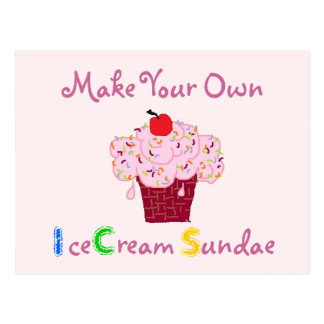 Ice Cream Sundae Party Invitation Postcard