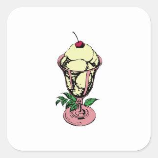 Ice Cream Sundae Square Sticker