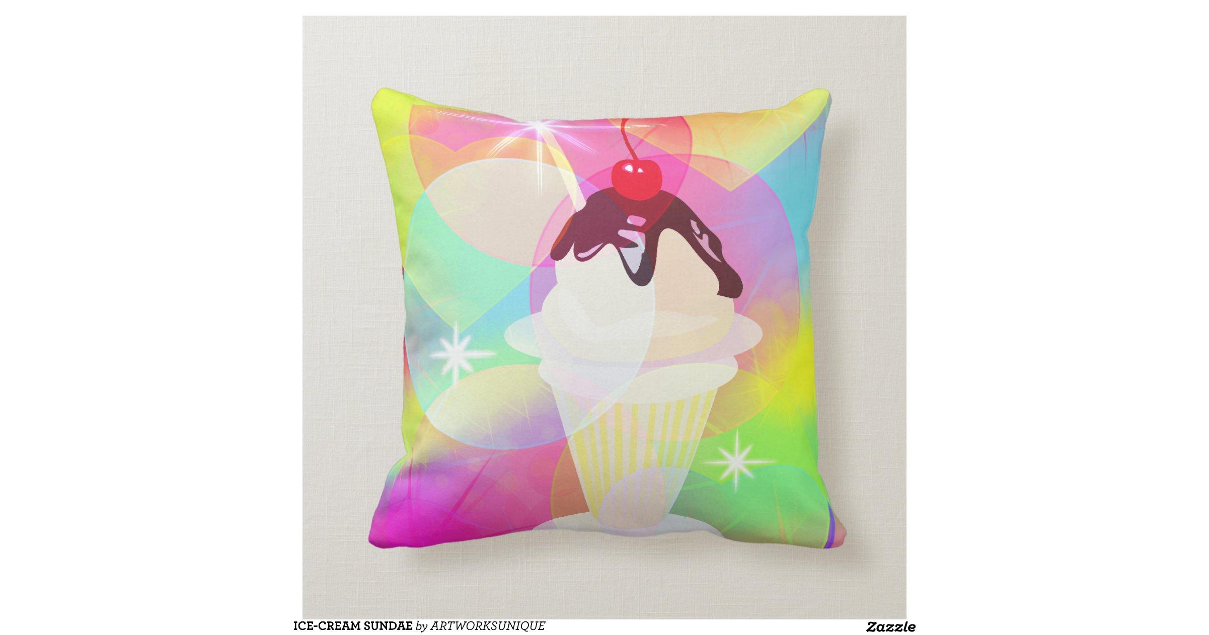 Ice Cream Throw Pillows : ICE-CREAM SUNDAE THROW PILLOW Zazzle