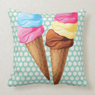 Ice cream throw pillow fun colourful