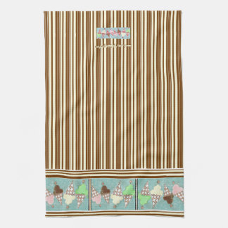 Ice Cream Vertical Stripe Tea Towel