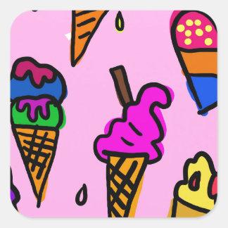 Ice Cream Wallpaper Square Sticker