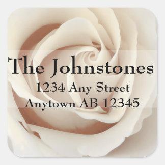 Ice Cream White Roses Wedding Return Address Stickers