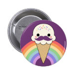 Ice Cream with Moustache Pinback Buttons
