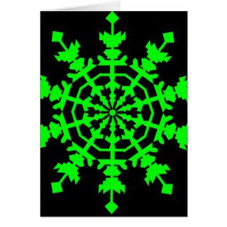 Ice Crystal - Green Greeting Card