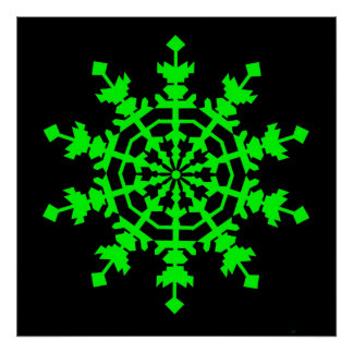 Ice Crystal - Green Poster