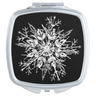Ice crystal snowflake travel mirror