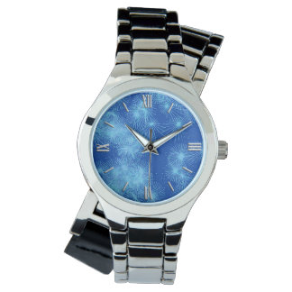 Ice crystal starbursts - cobalt blue wristwatches
