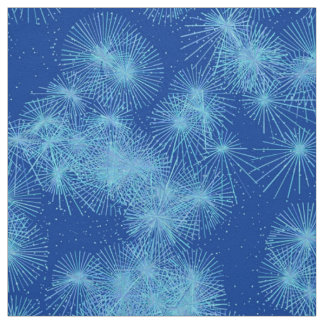 Ice Crystal Starbursts, Deep Blue Background Fabric