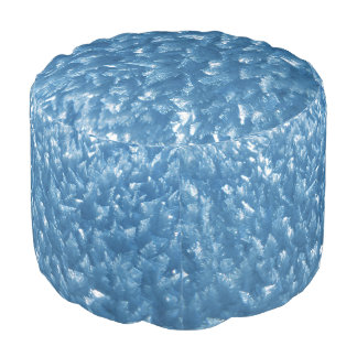 Ice Crystals in Blue Round Pouf