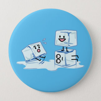 ice cubes icy cube water slipping stack melt cold 10 cm round badge