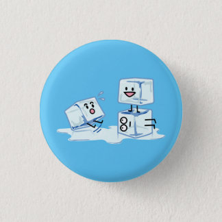 ice cubes icy cube water slipping stack melt cold 3 cm round badge