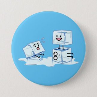 ice cubes icy cube water slipping stack melt cold 7.5 cm round badge