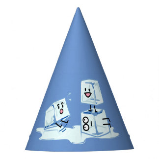 ice cubes icy cube water slipping stack melt cold party hat