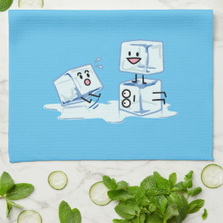 ice cubes icy cube water slipping stack melt cold tea towel