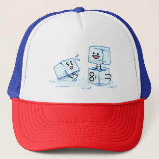 ice cubes icy cube water slipping stack melt cold trucker hat