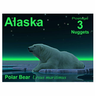 Ice Edge Polar Bear - Alaska Postage Photo Sculpture Magnet