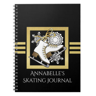 Ice   Figure Skating Black Faux Gold Girls Name Notebook