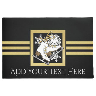 Ice | Figure Skating Black Faux Gold Modern Chic Doormat
