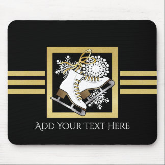 Ice | Figure Skating Black Faux Gold Modern Chic Mouse Pad