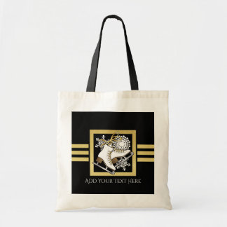 Ice | Figure Skating Black Faux Gold Modern Chic Tote Bag