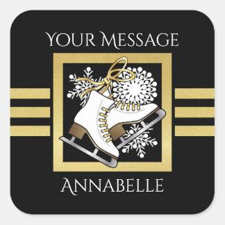 Ice   Figure Skating Black Faux Gold Modern Custom Square Sticker