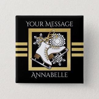 Ice | Figure Skating Black Faux Gold Modern Name 15 Cm Square Badge