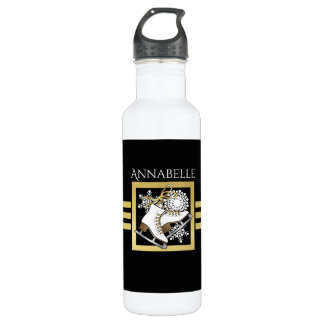 Ice | Figure Skating Black Faux Gold Modern Name 710 Ml Water Bottle