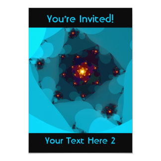 "Ice Fire. Fractal Art. Blue. 5"" X 7"" Invitation Card"