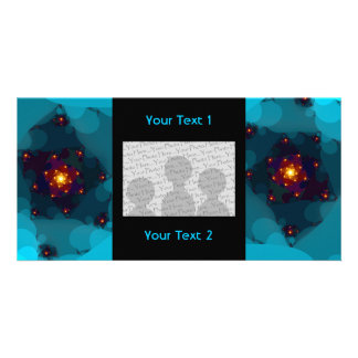 Ice Fire. Fractal Art. Blue. Photo Greeting Card