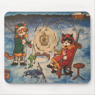 Ice Fishing at Night Mouse Pad
