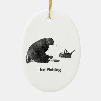 Ice Fishing Ceramic Ornament