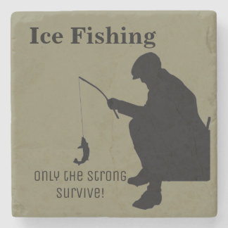 Ice Fishing Funny Stone Coaster