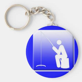Ice Fishing Logo Basic Round Button Key Ring