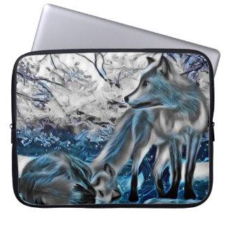 Ice fox laptop art sleeve