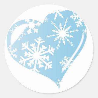 Ice Heart Round Sticker