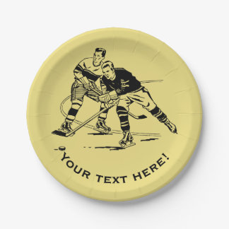 Ice hockey 7 inch paper plate