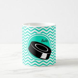 Ice Hockey Aqua Green Chevron Coffee Mugs