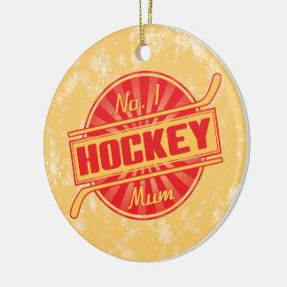 Ice Hockey Christmas Decorations, Hockey Mum Round Ceramic Decoration