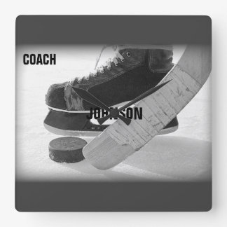 Ice Hockey Coach Thank You Square Wall Clock