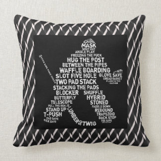 Ice Hockey Goalie Calligram Throw Pillow