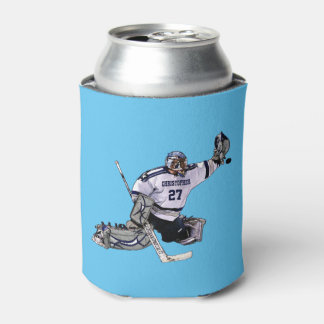 Ice Hockey Goalkeeper With Your Name Drawing Can Cooler