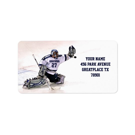 Ice Hockey Goalkeeper With Your Name Drawing Label
