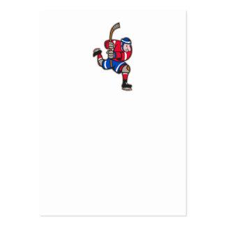 Ice Hockey Player Striking Stick Business Card Template