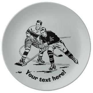 Ice hockey porcelain plate